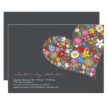 Spring Flowers Heart Valentine Party Invite
