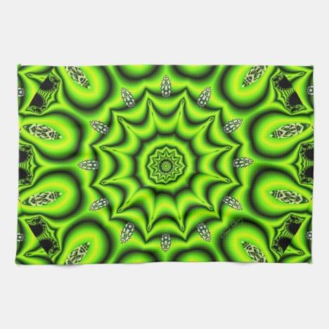 Spring Garden, Bright Abstract Lime Green Towel