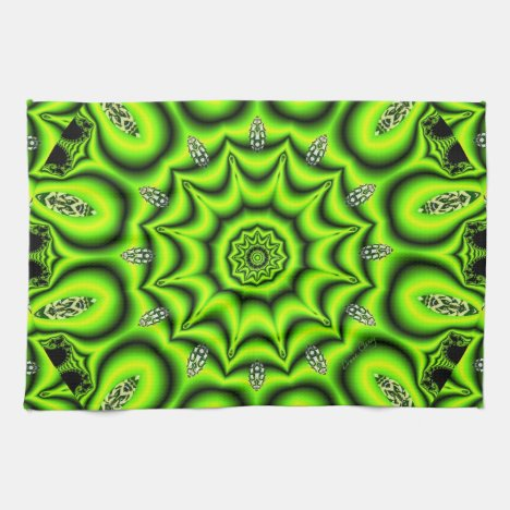 Spring Garden, Bright Abstract Lime Green Towel