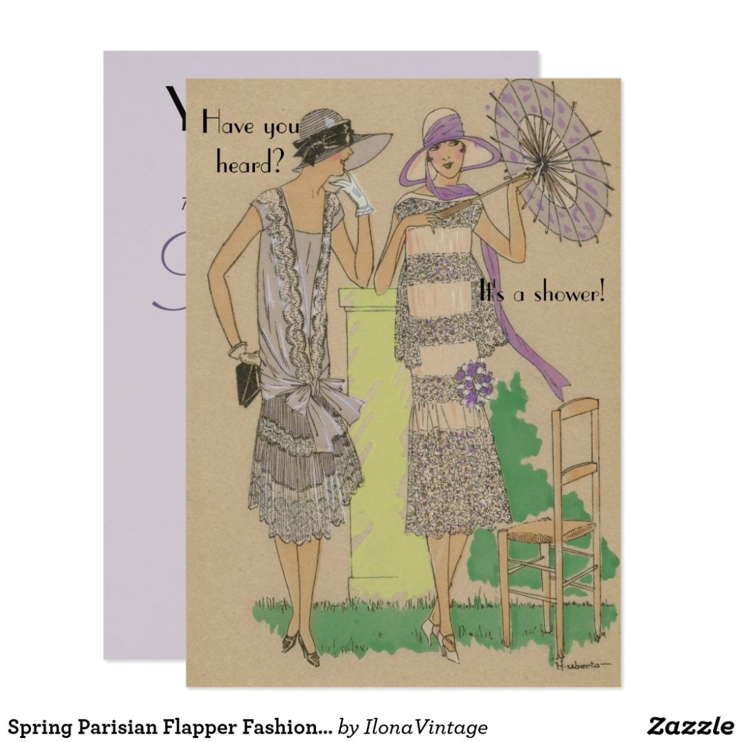 Spring Parisian Flapper Fashion Shower Invitation