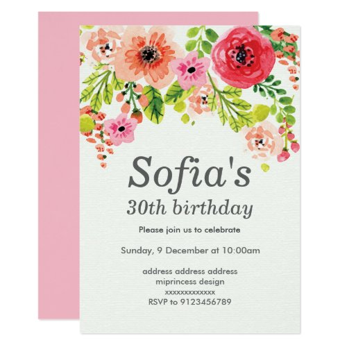 spring, pink floral invitation card woman party