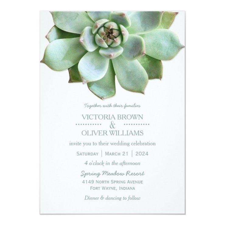 Spring Succulent Botanical Wedding Card
