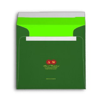Square Carnival Green Monogram Return Address Envelope