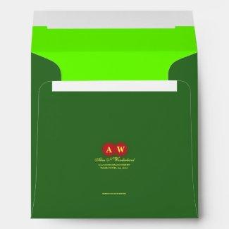Square Carnival Green Monogram Return Address Envelope