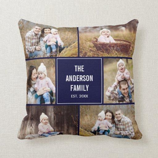 Square Photo Collage Custom Throw Pillow