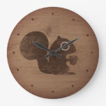 Squirrel with Nut Rustic Style Large Clock