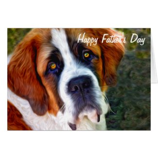 St Bernard Dog Painting Happy Father's Day Cards