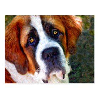 St Bernard Dog Painting Postcard