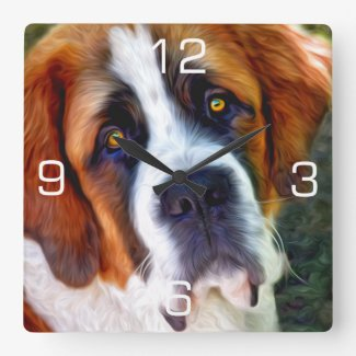 St Bernard Dog Painting Square Wall Clock