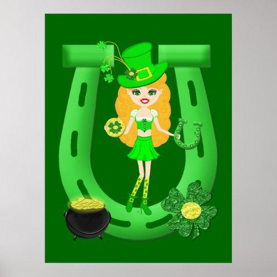 St Patrick's Day Blonde Girl Leprechaun Poster | Zazzle.com