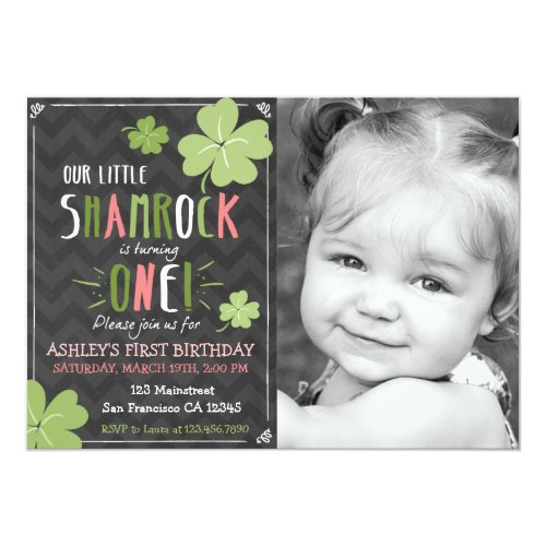 St. Patrick's Day 4 Leaf Clover Birthday Invite