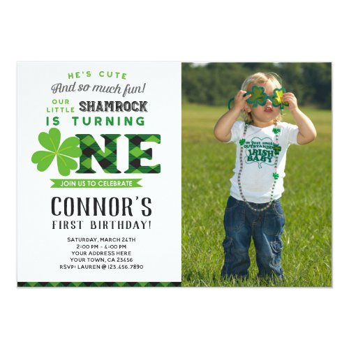 St Patrick's Day Birthday Invitation with Photo