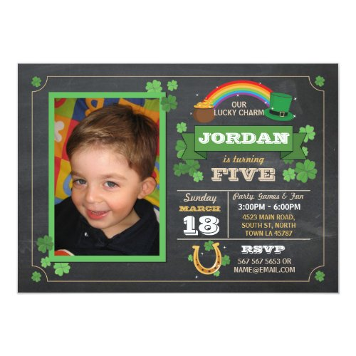 St. Patricks Day Birthday Party Photo Invite 3 4 5