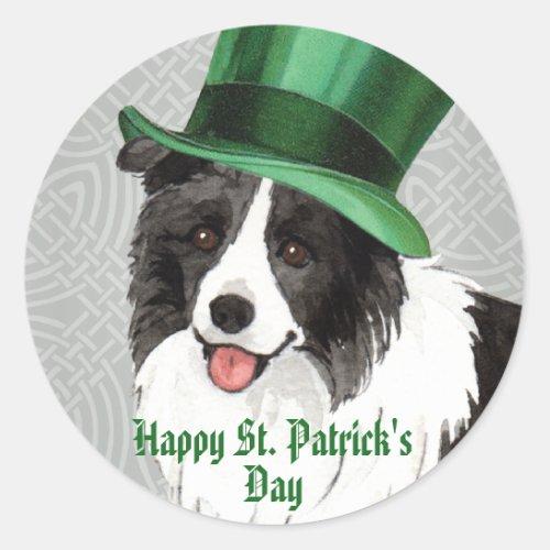 St. Patrick's Day Border Collie Classic Round Sticker