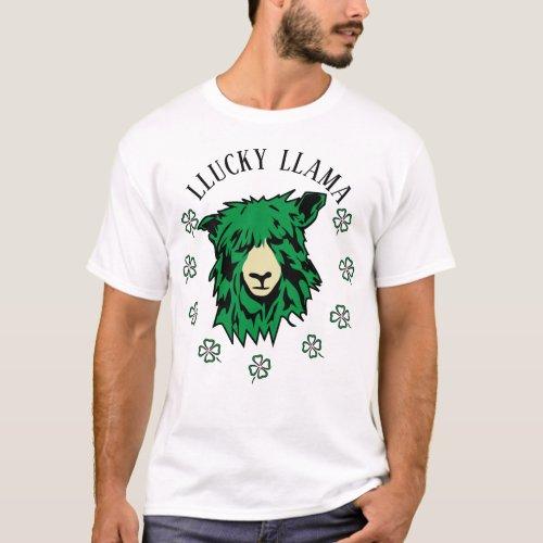 St. Patrick's Day Lucky Green Llama T-Shirt