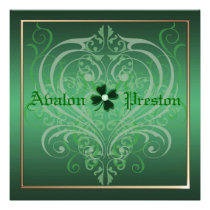 St Patrick's Day Shamrock Crest Wedding Personalized Invite