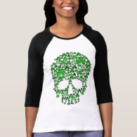 St Patricks Day Shamrocks Skull Tshirt