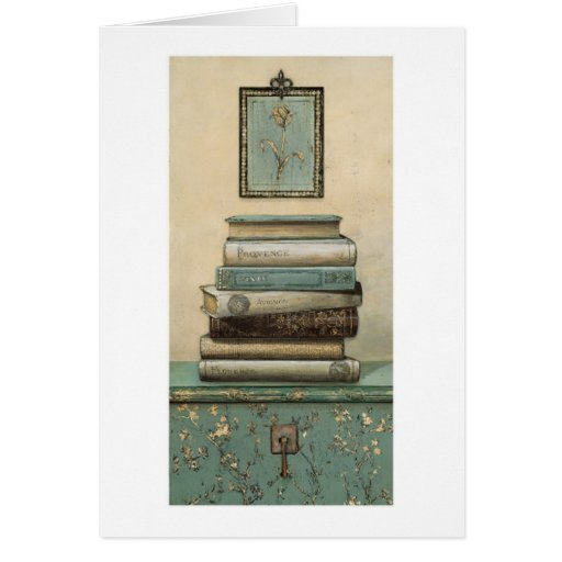 stack of books greeting card | Zazzle