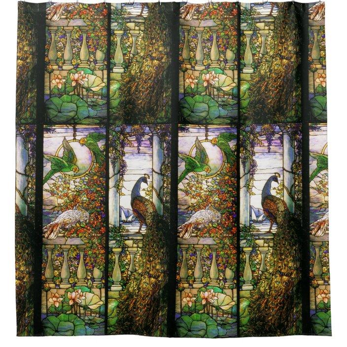 stained glass art nouveau flowers shower curtain zazzle com