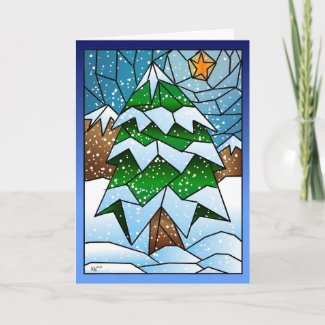 Stained Glass Christmas Tree Greeting Card