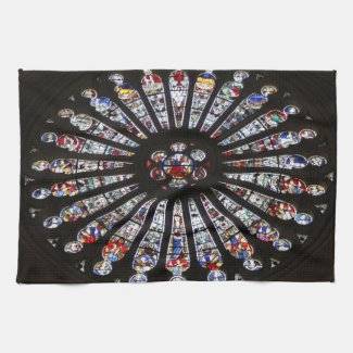 Stained-Glass Church Rose Window Kitchen Towels