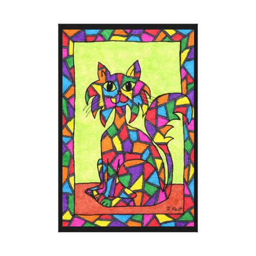 Stained Glass Kitty Canvas Print - abstract rainbow cat wall art -