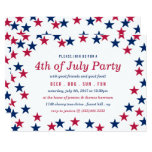 Star-Spangled Confetti 4th Of July Party Invitation