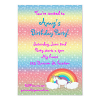 Star unicorn on rainbow birthday invitation