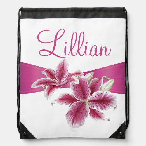 Stargazer Lillies on White Drawstring Backpack
