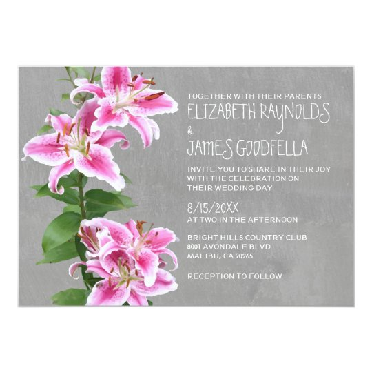 Wedding Invitation Template Asian Lilies Image And Ilration Composition For Background Or