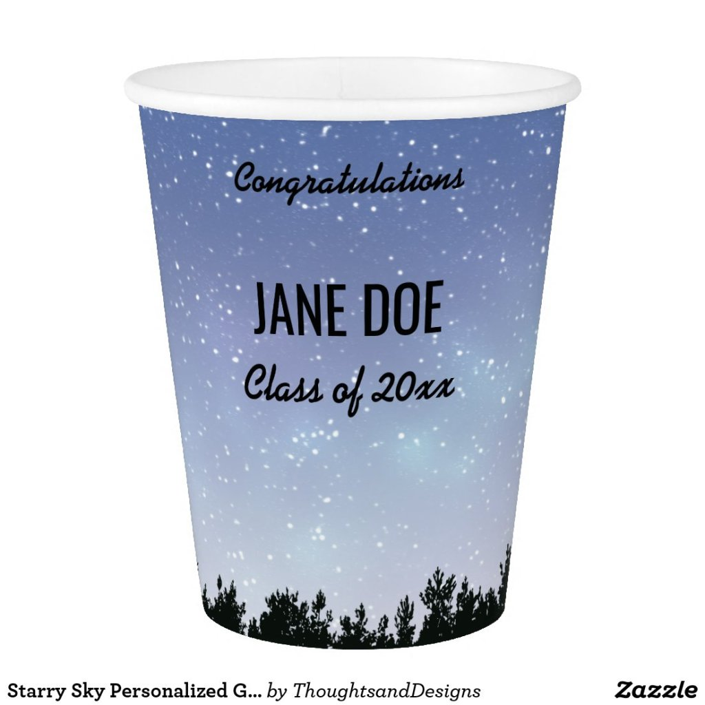 Starry Sky Personalized Graduation Cups