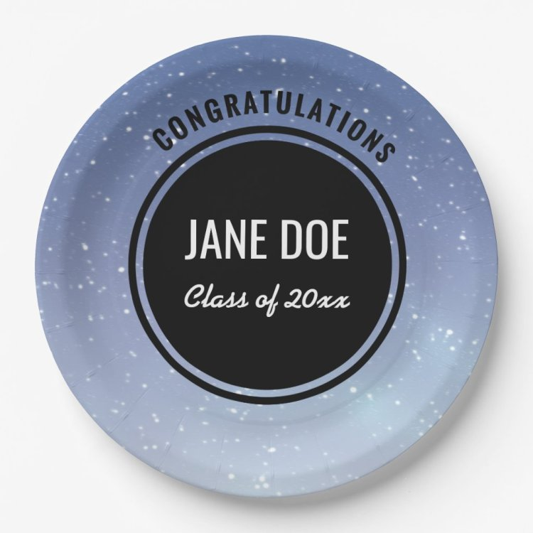 Starry Sky Personalized Graduation Plates