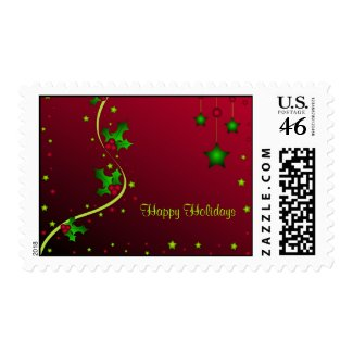 Stars and holly - Postage stamp