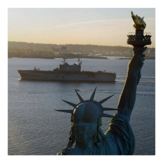 Statue of Liberty and US Naval Warship Photograph Print