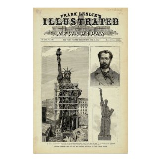 Statue of Liberty Construction Illustration Print