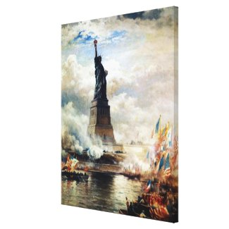 Statue of Liberty Unveiled by Edward Moran Canvas Print