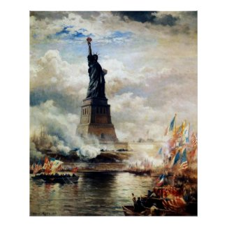 Statue of Liberty Unveiled by Edward Moran Poster
