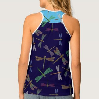 Steampunk Dragonflies on Blue Womens Tank Top - Click through to purchase