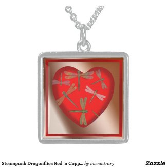 Steampunk Dragonflies Red 'n Copper Heart Necklace - Click through to purchase