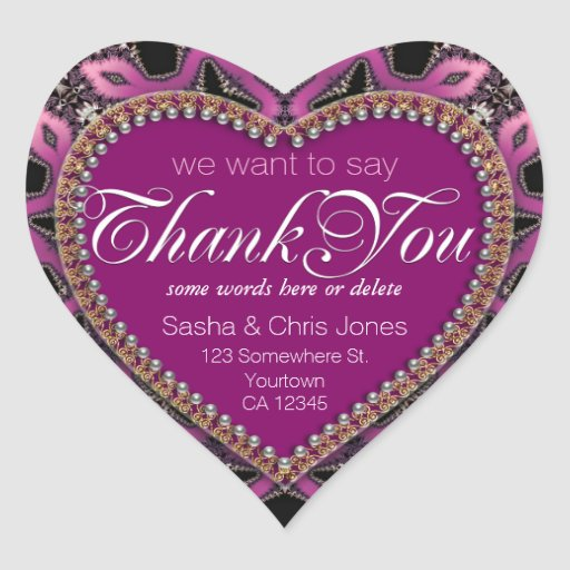 Steampunk Sassy Pink Thank You Love Heart Stickers