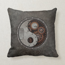 Steampunk Yin Yang Throw Pillow