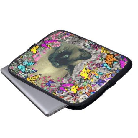 Stella in Butterflies Chocolate Point Siamese Cat Laptop Sleeve