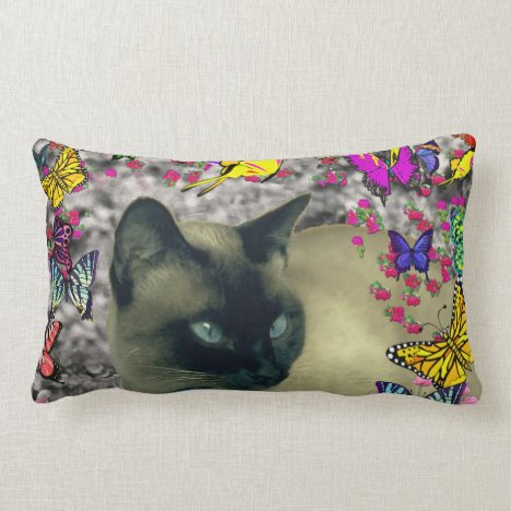 Stella in Butterflies Chocolate Point Siamese Cat Lumbar Pillow