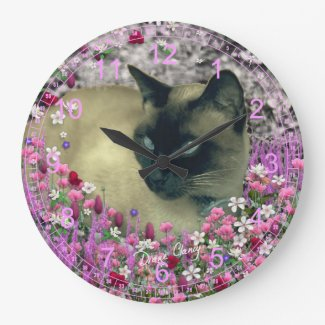 Stella in Flowers I – Chocolate Cream Siamese Cat Wall Clock