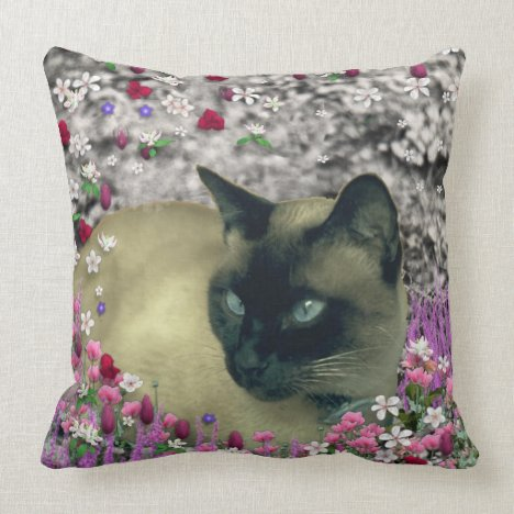 Stella in Flowers I, Chocolate & Cream Siamese Cat Throw Pillow
