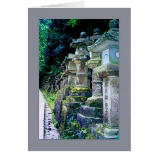 Stone Lanterns, Nara, Japan Card