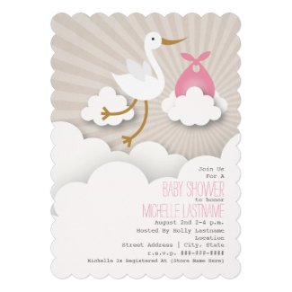 Stork In The Clouds Baby Shower - Pink Custom Invitations