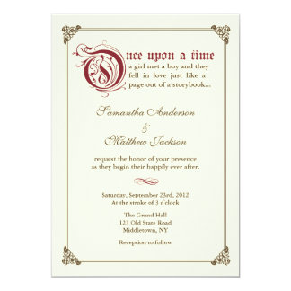 Storybook Fairytale Wedding Invitation Burgundy