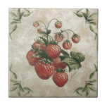 ❤️ Strawberries Rustic Ceramic Tile