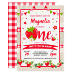 Strawberry Birthday Invitation Berry Sweet Party